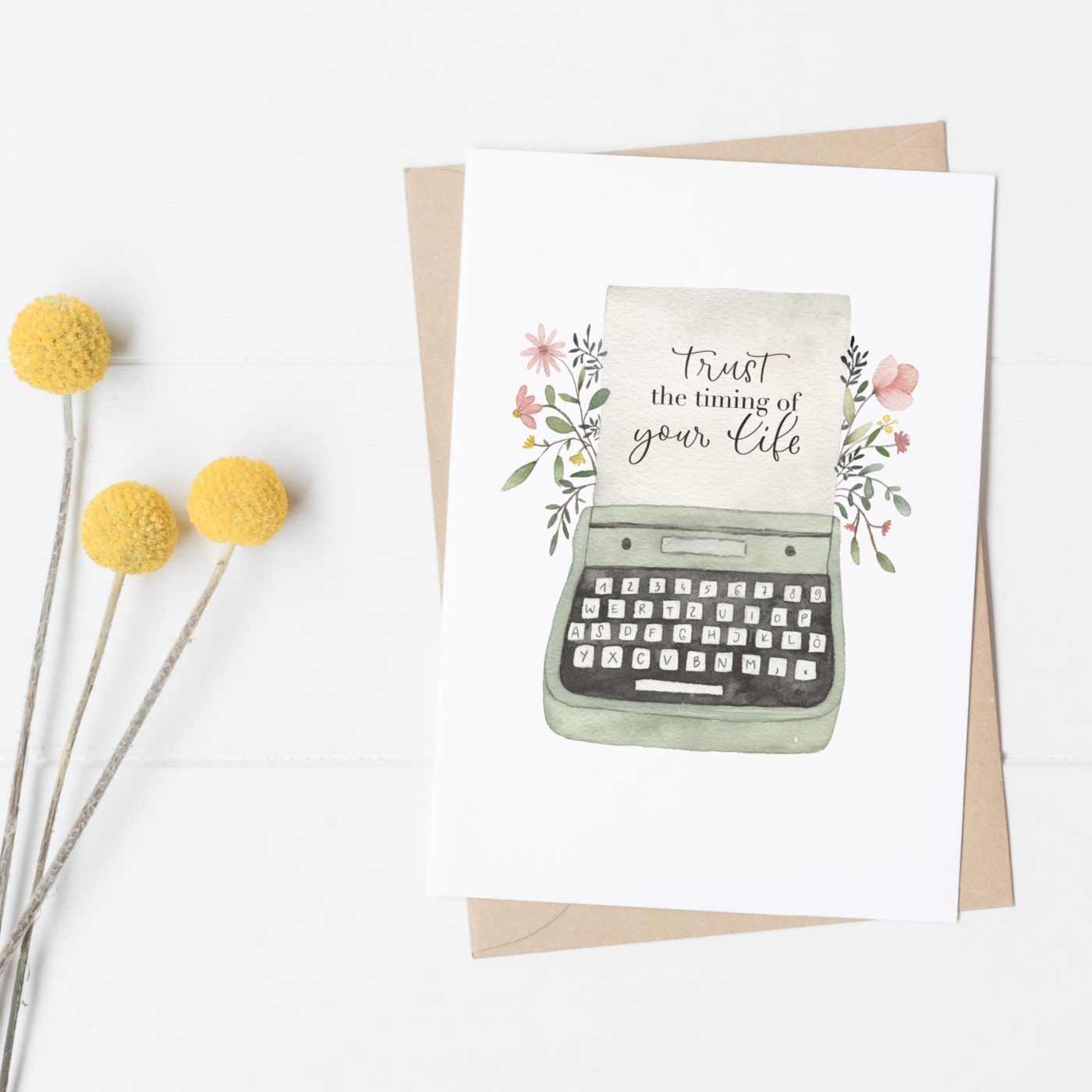 Postkarte Schreibmaschine