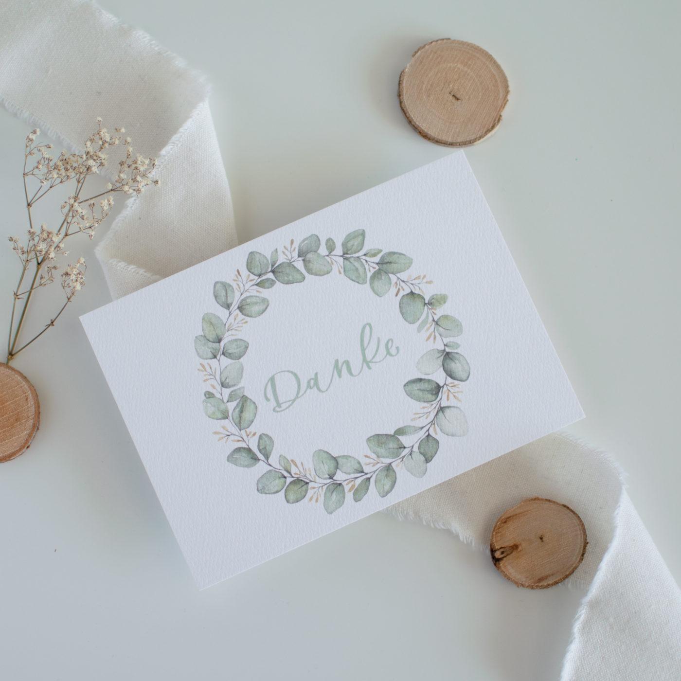 Postkarte Danke Blätterkranz